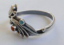 Koralle Türkis Perlmutt Ring Russland Silber 925 Vintage 70er silver ring