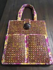 VERA BRADLEY Tiki Bali Gold Rattan Straw Basket Weave Beach Shopping Tote Bag