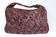 BEAUTIFUL BOTTEGA VENETA INTRECCIATO MAXI XL Burgundy VELOURS HOBO SHOULDER BAG