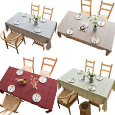 Cotton Linen Tablecloth Dining Table Cloth Cover Kitchen Wedding Party Banquet