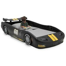 Classic Black Turbo Racecar Twin Bed Frame Race Car Racing Kid Bedroom Furniture