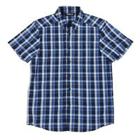 Arcteryx Brohm Men's Hiking Short Sleeve Button Up Shirt Blue Plaid Size Medium