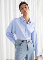 NWT & Other Stories Organic Cotton Cropped Oversized Boxy Cut Blue Shirt Xs