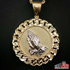 Mens 10k Gold Praying Hands Pendant Medallion Cuban Link Bezel Two Tone Charm
