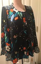 NWT Ladies NANETTE LEPORE Navy Orange Floral Flower Blouse L Top Wide Sleeves