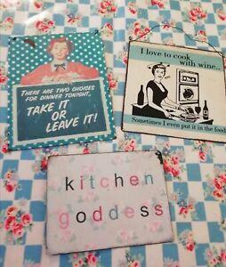 3x Vintage/Retro Style Tin Kitchen Sign Bundle