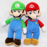 "2pcs /Set Super Mario Plush Toy Luigi & Mario Doll Stuffed Animals 10"" Gift B175"