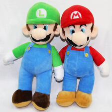 "2PCS/Set Super Mario Plush Toys LUIGI & MARIO Doll Stuffed Animals Toy 10"" gift"
