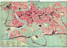 Pianta di Roma. Carta Topografica,Geografica. Cromolitografia.Stampa Antica.1894