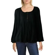 Free People Womens Devin Black Ribbed Knit Shirt Henley Top Blouse XL BHFO 6699