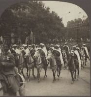 French Colonial Moroccan Cavalry Riding Through Paris. WW1 Stereoview