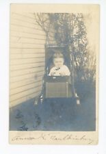 Cute Toddler Girl in Baby Carriage RPPC Anna Faulkinburg—Lebanon IN? Photo 1910s