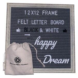 Felt Letter Board 12 x 12 Rustic Wood Frame, 320 Changeable letters