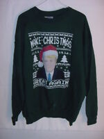 FUNNY UGLY CHRISTMAS SWEATER - TRUMP MAKE CHRISTMAS GREAT AGAIN - MENS LARGE