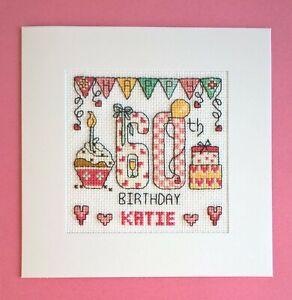 Happy 60th Birthday cross stitch card kit
