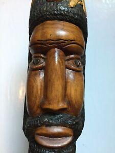 Vintage Hand Carved Wood Folk Art Rastafarian Jamaican Mid Century Statue Bust