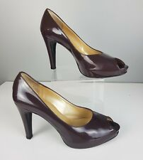 Russell & Bromley Brown Patent Peep Toe High Heel Shoe Au Sz 7.5 Free Postage