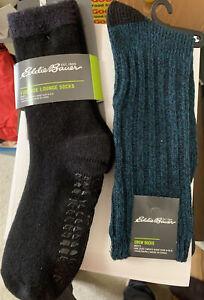 Two Pairs Eddie Bauer Men's Socks, Fireside Lounge, Merino Ragg Boot, 6-12.5,NWT