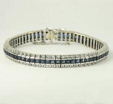 Diamond sapphire straight line bracelet 14K WG princess VS round brilliant 7.77C