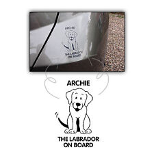 Personalised Name Vinyl Decal Sticker Labrador On Board Dog Car Bumper Window