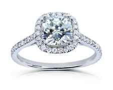 1.25ct Cushion Cut Moissanite Halo Engagement Ring 9K White Gold Diamond Ring