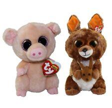 "Set of 2 Ty Beanie Boos 6"" PIGGLEY Pig & KIPPER Kangeroo Plush Animal Toy MWMTs"