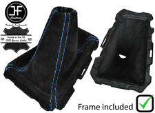 BLUE STITCHING SUEDE GEAR BOOT + PLASTIC FRAME FITS FORD FOCUS 2012-2015