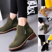 Fashion Women Low Heel Chelsea Boots Casual Suede Zipper Ankle Heels Shoes Sizes