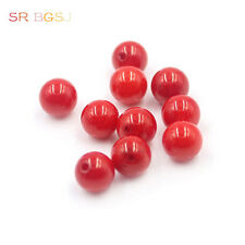 Natural 10 Pcs 3A Grade Half Drilled Hole 8mm Round Red Coral Gemstone Beads
