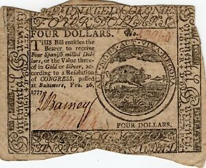 Fr. CC-57 February 26 1777 Baltimore Continental Currency $4 Note