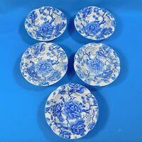 "5 Vintage English Chippendale Blue Soup Cereal Bowls 6.25"" Johnson Bros England"