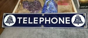 "Antique Vintage 1920s Bell System Telephone Porcelain Sign, Excellent 20"" x 4"""