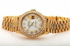 Rare $30,000 6ct Diamond Ladies Rolex 18k Yellow Gold President & BOX & Wty