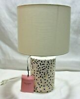 Kate Spade Confetti Cylinder Ceramic Table Lamp & Shade Black Gold Pink Dots New
