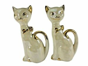 Vintage Lusterware Gold Trim Cats Kittens Animals Salt and Pepper Shakers  *B2