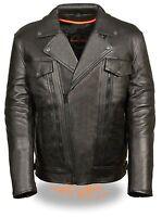 Mens Black Leather Motorcycle Jacket, Vented Utility Pockets, Gun Pockets