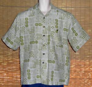Joe Marlin Hawaiian Shirt Olive Green Tropical Design Blocks Size Large LN