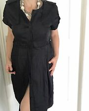 COUNTRY ROAD WOMENS DRESS LINED TAILORED BUTTONS VISCOSE BLACK SZ 14