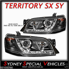 FORD TERRITORY SX SY 2004-08 - LED DRL HEADLIGHTS PROJECTOR HEAD LIGHTS BLACK