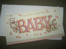 Vintage CORONATION Greeting Card BABY GIRL, Embossed Parchment Paper & Glitter