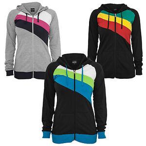 Urban Classics Ladies Zig Zag Jersey Zip Hoody Jacket Hoodie XS-XL