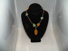 Nice Silpada 925 sterling jade turquoise amber jasper necklace N1296