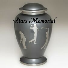 Beautiful Etched Golf Memorial Cremation Urn- Brass,Sports Urn, Great Deal!
