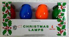 (4 Pack) MULTI COLOR SOLID C-7 Light Bulbs 5 Watt Holiday Christmas Night NEW