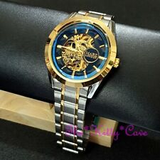 Automatic Mechanical Steampunk Skeleton Blue Sapphire Bevel Mineral WindUp Watch