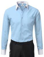 Berlioni Italy Men's Italian Long Sleeve Two Tone Dress Shirt Light Blue