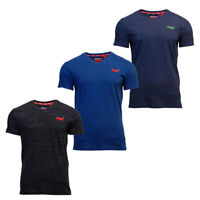 Superdry Mens New Orange Label V Neck Short Sleeve T Shirt Blue Black