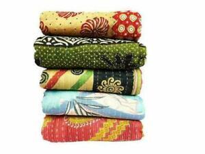 Kantha Quilt Vintage Handmade Coverlets Bedspreads Cotton Throw Blanket Ralli