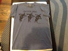 Vtg 1994 Jackson Hole Wyoming Moose 2 sided Emi Blue T- Shirt Sz L - Cool