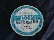 BOLLO 1960 ACI TASSA CIRCOLAZIONE MOTOCICLI LEGGERI GUZZI VESPA BIANCHI EPOCA